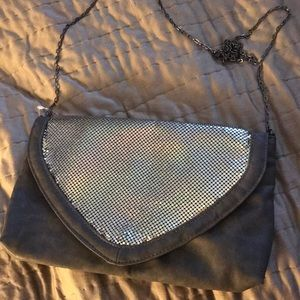 Handbags - Dark gray silver sequined  clutch with chain strap